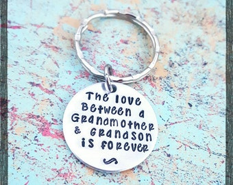 The love between a Grandmother and her Grandson is forever - Choose your style and Birthstone - Grandson Gift