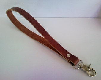 Leather Key Landyard with nickel hook and ring, cute keychains, brown leather fob leather keychain
