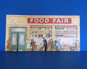 Vintage 1950's Food Fair TOY GROCERY STORE - Cardboard Building With Advertising