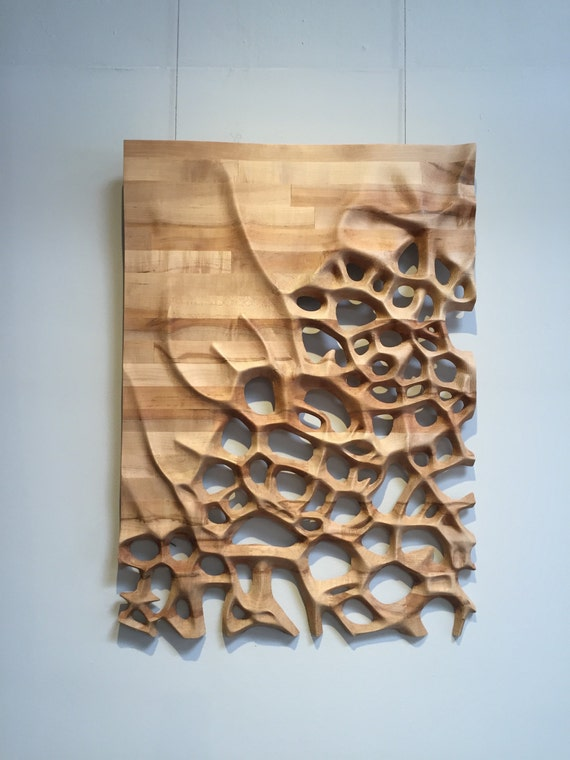 Wall hanging d cnc milled maple wood by nardinedesignstudio