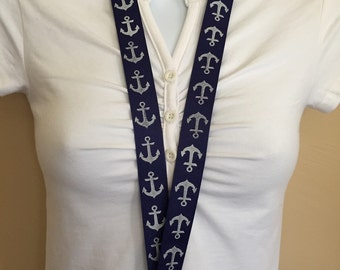 Nautical Anchors lanyard, ID holder, key holder