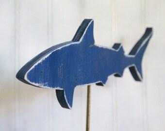 Shark accent on a rustic block, Shark decor,  Ocean Sharks, Beach House, Mako Shark, Reef Shark