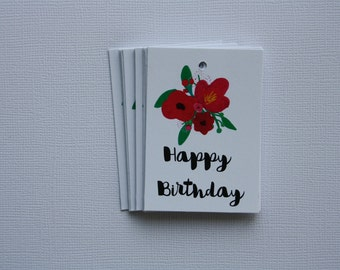 Happy Birthday // Gift Tags (5) // Floral // Flower // Bouquet // Gifts // Twine // Rustic // Favors