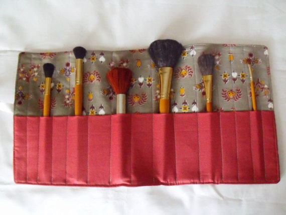 make up brush holder, make up brush roll, cosmetic brush case, brush pouch, grey and rust red cotton fabric, slight second