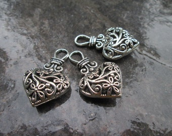 Silver Filigree Puffed Heart Charms with loop Package of 3 Valentines Day charms or pendants