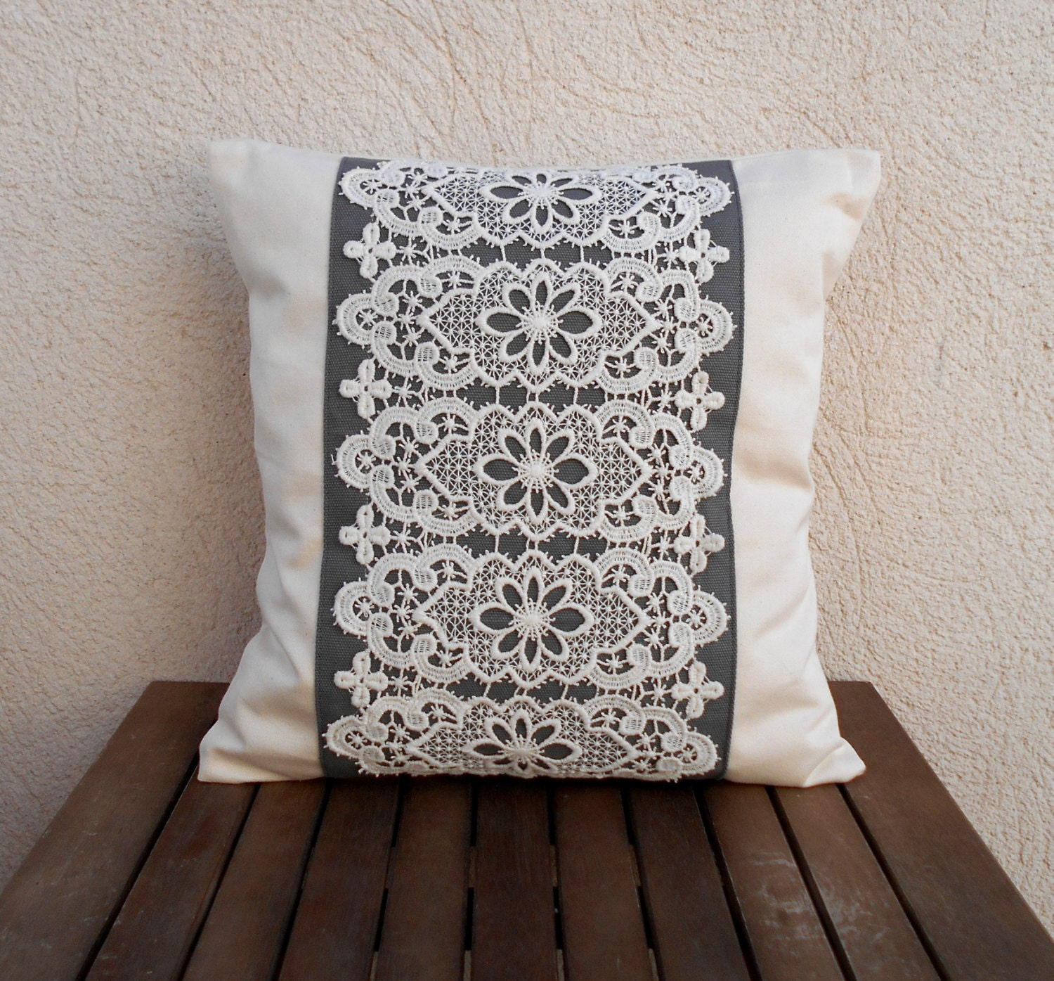 Decorative pillow Lace pillow cover Shabby chic pillow Grey