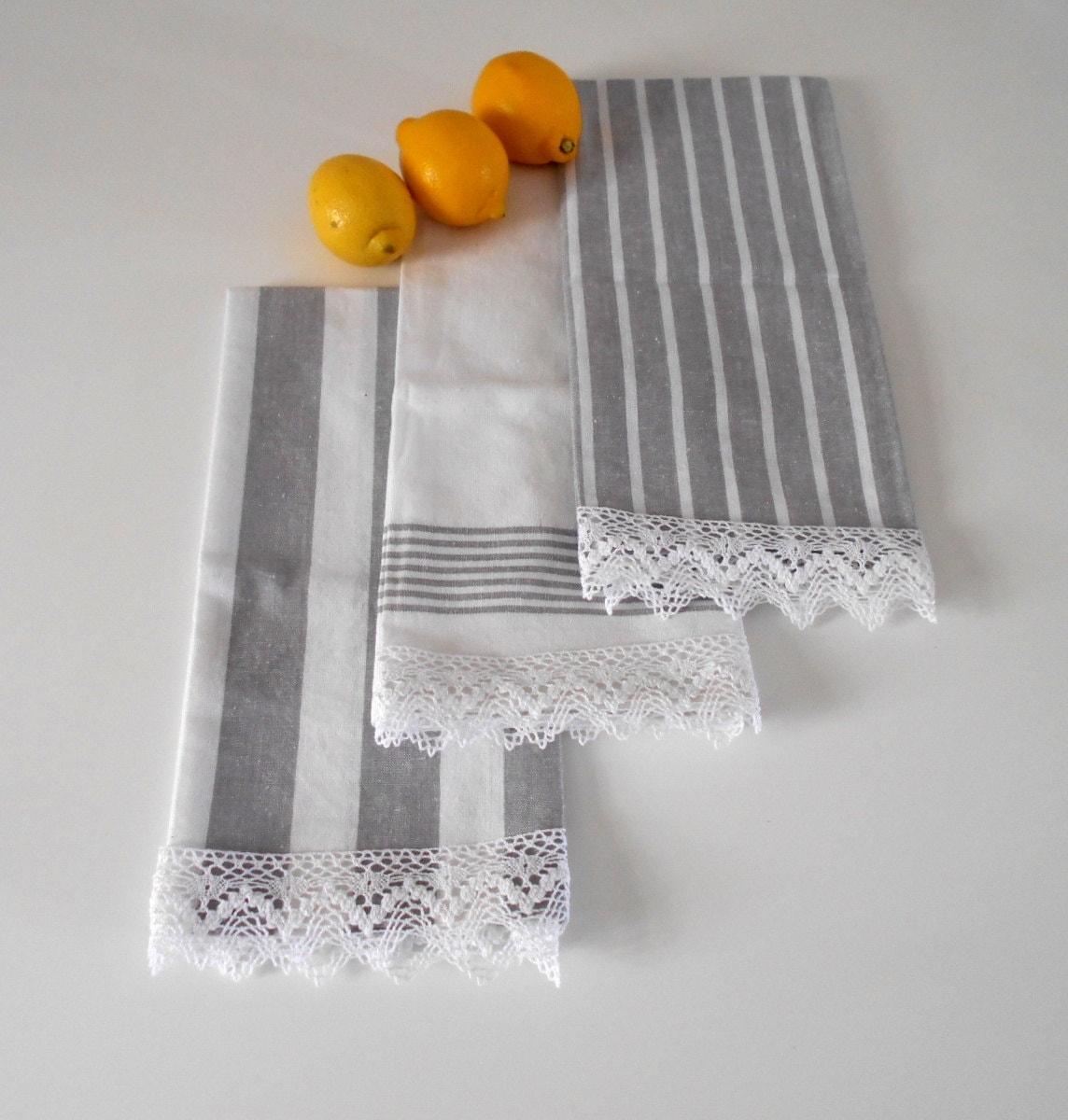 Set di strofinacci di 3 grigio asciugatutto shabby chic - Strofinacci da cucina ...