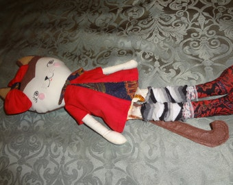 """rag cat doll with a red dress a red bow and leggins handmade 17"""" long"""