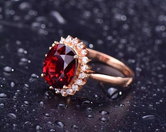 Solid 18K Rose Gold Oval Shape Natural Garnet Ring Set With 0.318ct Real Diamonds