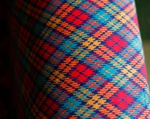 60's diamond plaid corduroy // red yellow orange turquoise blue med weight high quality vintage fabric