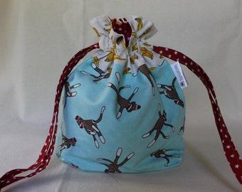 Blue Sock Monkey Project Bag