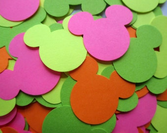 200-Mickey Mouse confetti-Disney confetti-hot pink-green-bright yellow-Mickey Mouse die cuts-Girls birthday party decorations-neon colors
