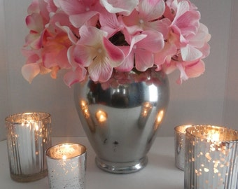 Mercury glass flower vase and candle holders,Wedding table mercury glass decoratins, mercury glass candle holder, wedding centerpiece