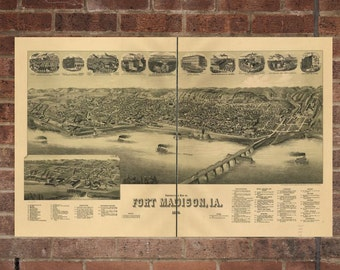 Vintage Fort Madison Print, Aerial Fort Madison Photo, Vintage Fort Madison IA Pic, Old Fort Madison Photo, Fort Madison Lowa Poster, 1889