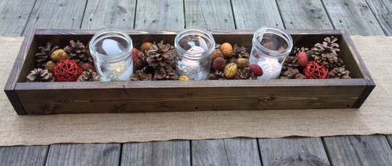 Rustic wood centerpiece box by blackironworks on etsy