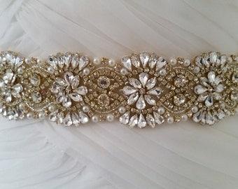 GOLD ALEXA Bridal Sash, Bridal Belt, Wedding Sash, Wedding Dress Sash, Wedding Dress Belt, Wedding Belt, Vintage Wedding, UK Bridal Sash