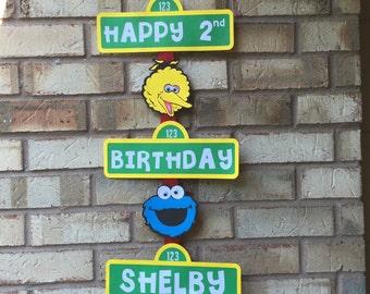 Sesame Street Birthday Sign- Sesame Street Birthday Party Sign-Elmo Birthday Decor-Sesame Street Birthday Sign Personalized