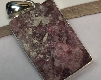 Genuine Pink Tourmaline 925 Solid Sterling Silver Cluster Pendant 35mm long