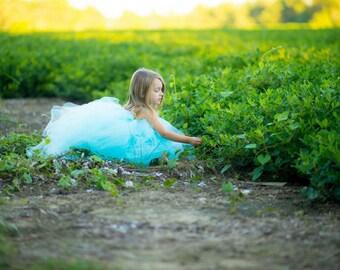 Aqua Blue flower girl tutu dress, Junior bridesmaid dress, aqua tulle tutu, tiffany blue, tulle flower girl dress, baby birthday dress