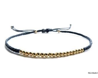 Dark Grey Knotted Bracelet Gold Filled Beads / Friendship Bracelet