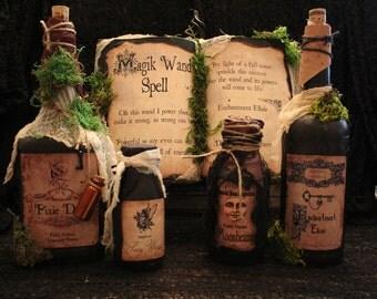 "Halloween Spell Book & Potion Bottle Set, ""Magik Wand Spell"", Complete Halloween Display, Prop, Decor, Spells"