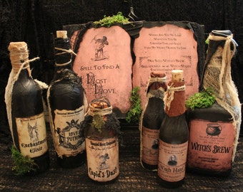 """Halloween Spell Book & Potion Bottle Set, """"Spell To Find A Lost Love"""", Complete Halloween Display, Prop, Decoration, Spells, Potions, Grunge"""