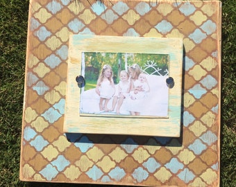 Wood, hand painted picture frame, Holds 5x7 Photo