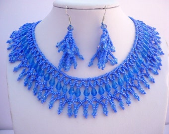 Blue crystal beadwork necklace set, blue beaded statement necklace set, blue beadwork jewelry
