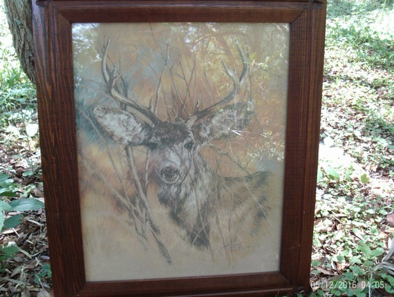 home interior deer picture vintage home interiors silent buck picturesigned k maroon 18243