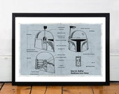 STAR WARS Boba Fett inspired minimalist movie poster print 13 x 19""