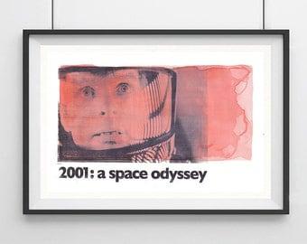 "2001: A SPACE ODYSSEY Stanley Kubrick, Original Art, Minimalist Movie Poster Print 13 x 19"""
