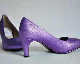 Wedding shoes Violet wedding shoes Violet shoes violet low heels shoes bridal shoes violet heels low heels high heels glitter shoes violet