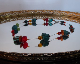 Vintage Beautiful  Big Size Turquoise and Coal Beads Necklace