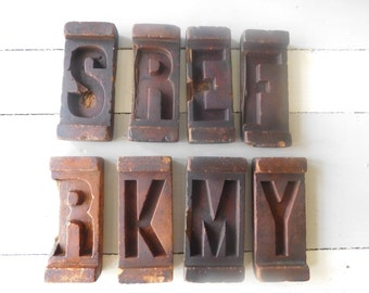 rare wax letter molds 8 french antique alphabet molds collectible wax molds letters s k y m e r r f
