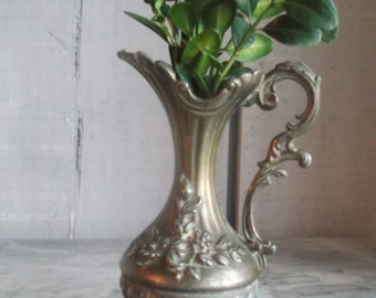 Neoclassical miniature brass pitcher  Small ornate vintage vase Home decor