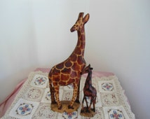 Vintage Hand Carved Wooden Giraffe Figurines, A Mother 12 inches and Her  Baby 7 inches in Excellent Condition