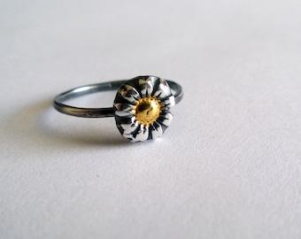Silver Daisy Ring/ Gold Daisy Ring/ Daisy Ring/ Flower Stacking Ring/ Antiqued Daisy Ring/ Flower Ring/ Rustic Daisy Ring/ OOAK Flower Ring
