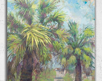 "Summer Palm Tree Original Wall Art Acrylic Large Painting 45"" on Canvas"