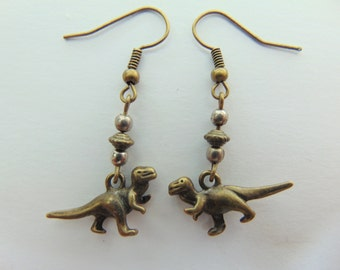 Bronze and Silver Dinosaur Earrings