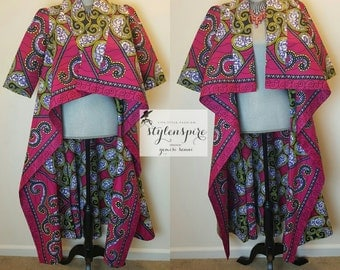 New | Two-in-One Duster | Ankara Wax Print SHADíA JACKET DRESS with Pockets