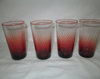 Beautiful Set of 4 Tumblers Really Stunning Burgundy Swirl Glass Mint Condition