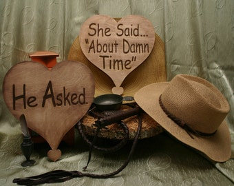 He Asked..She Said About Damn Time Set of 2 Rustic Style Wood Heart Engagement Party Photo Props,He Asked She Said About Damn Time Photoprop