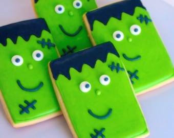 Halloween Frankenstein Decorated Sugar Cookies