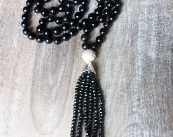 Hand Knotted Onyx Necklace Black Spinel Tassel Hand Knotted Boho Gemstone Necklace Beaded Necklace Onyx Gemstone and Tassel Necklace N0696