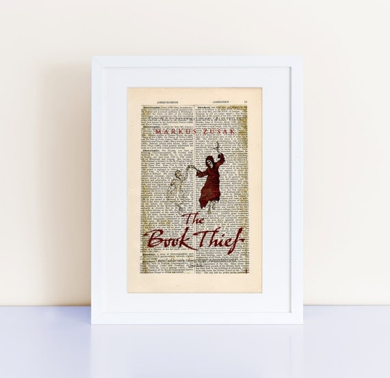 The Book Thief by Markus Zusak Print Wall Art on an antique page, book cover art