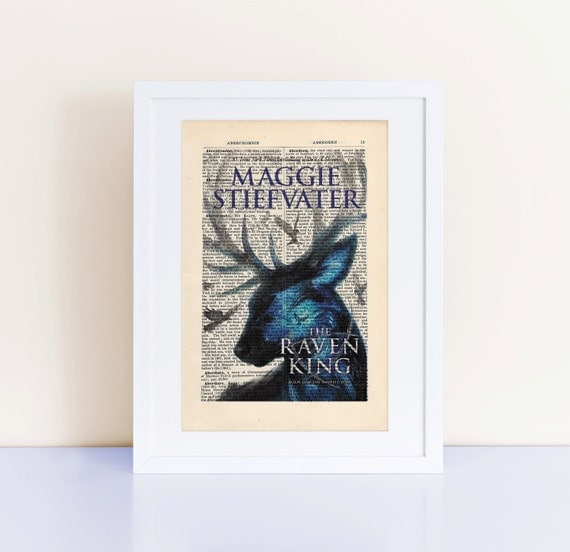 The Raven King by Maggie Stiefvater Print on an antique page, book cover art