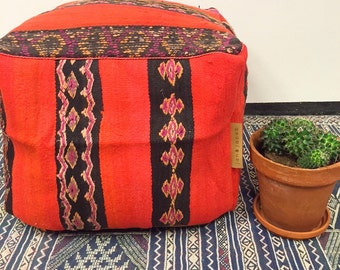 SALE New! Handmade unique kilim Moroccan pouf,poef,osmane,puff,ottoman,foot stool,floorpillow