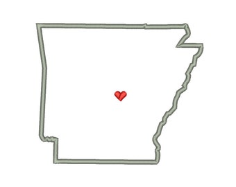 Arkansas State Outline Appliqué Designs Machine Applique Embroidery Designs US State Heart 9 Size - INSTANT DOWNLOAD