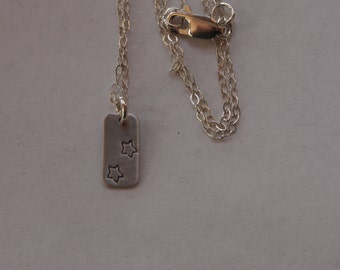 Sterling Silver Chain Necklace with Rectangular Pendant with Stars and Patina