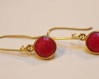 Elegant Gold Vermeil and Dyed Ruby Earrings